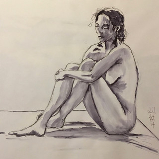 Pen and soluble ink on paper