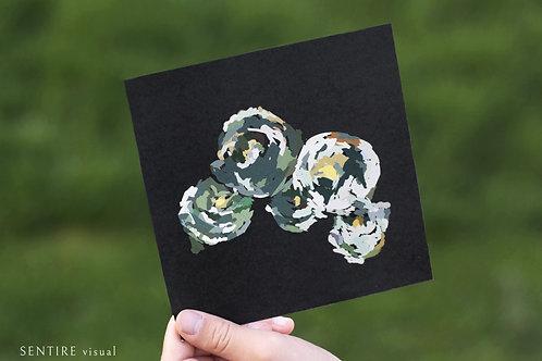 Kortti VIHREÄT PIONIT mustalla taustalla