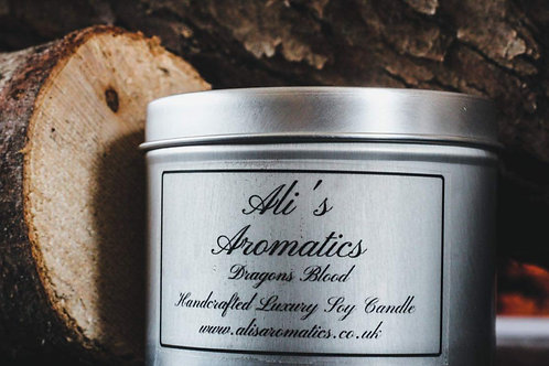 Dragons Blood Soy Candle in a tin