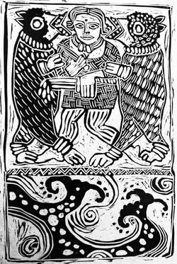 Viking Woman Woodcut