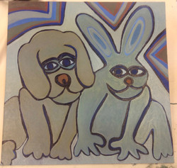 Hare And Dog Mid Painting