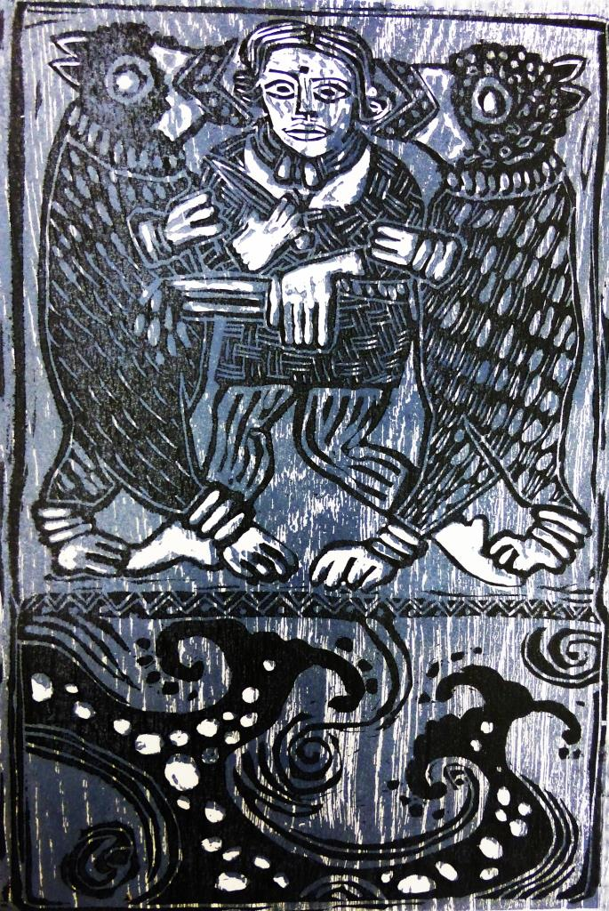 Viking Woman Blue Woodcut