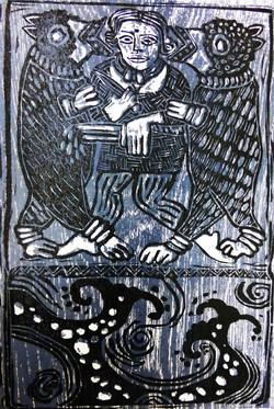 Viking Woman Blue Woodcut