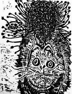 Scary Cat Wood Engraving