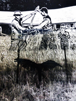 'hat we do for fun round here family album 1914' collage and woodcut b