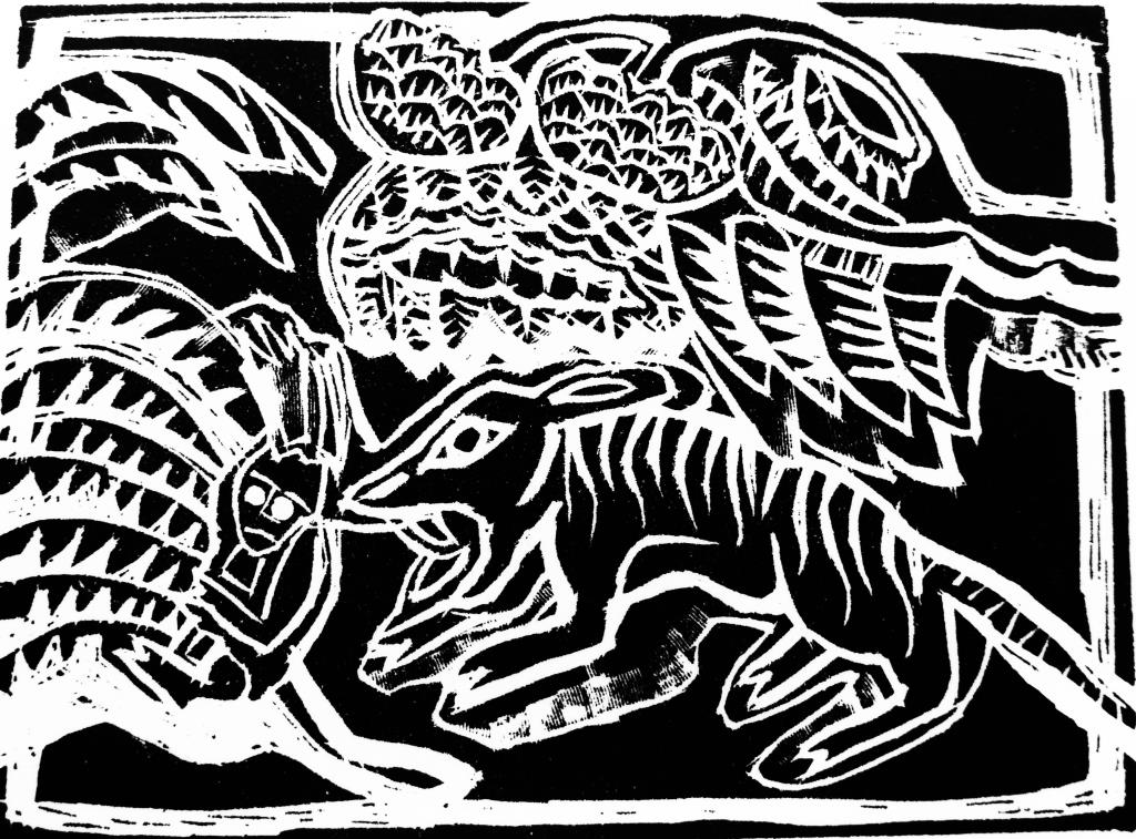 Indian Tiger Kill Wood Engraving