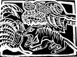 Indian Tiger Kill Wood Engraving
