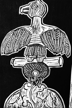 African Totem Woodcut