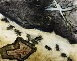 ants underground collograph