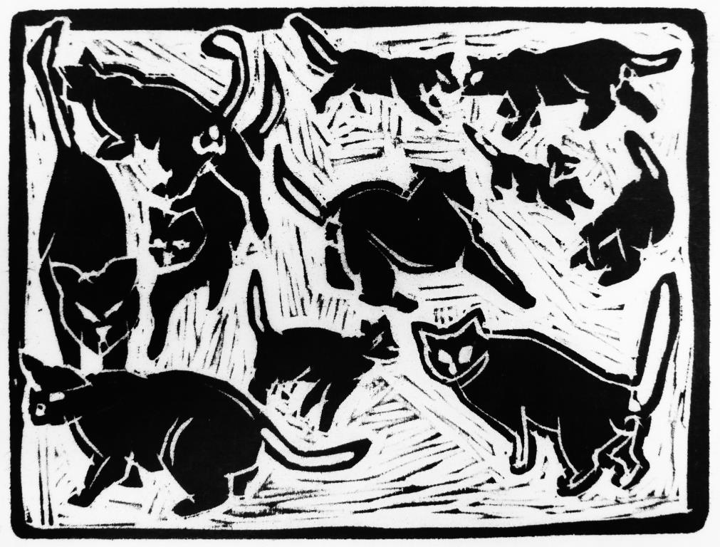 New Cat In The Garden Woodcut
