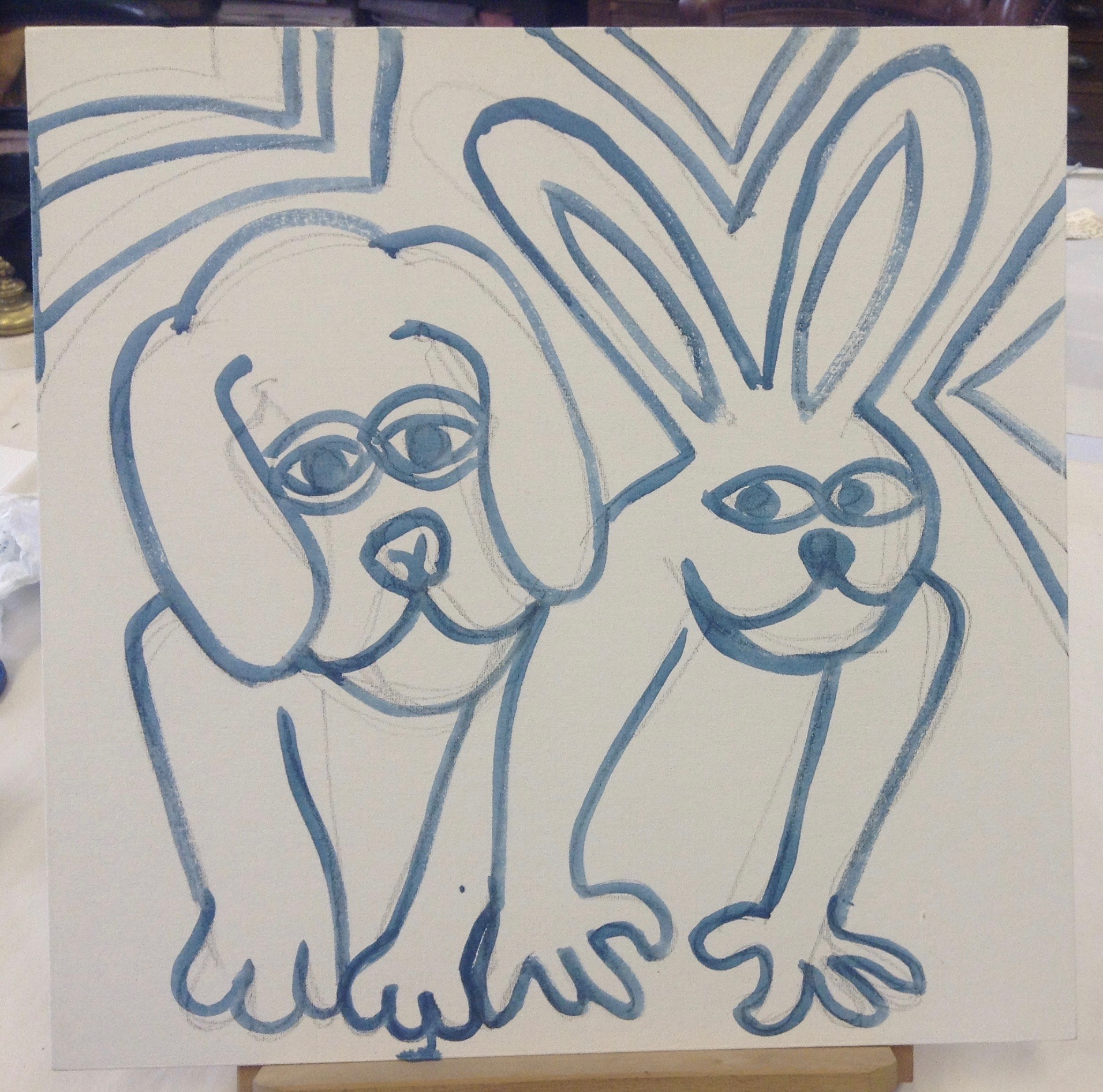 Hare And Dog Drawing
