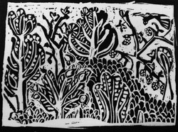 Coming In To Land Assyrian Garden Wood Engraving