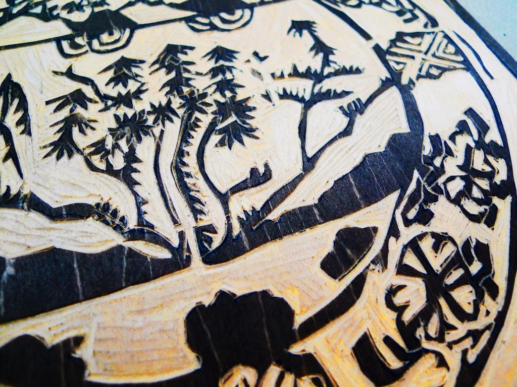 Bowl Detail Woodcut