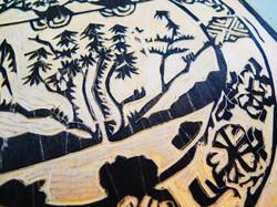 Bowl Detail Woodcut