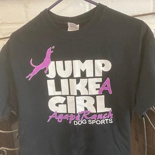 Agapé Ranch Dog Sports Jump Like A Girl T-Shirt