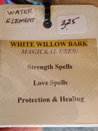 WHITE WILLOW BARK dried herb in corked bottle