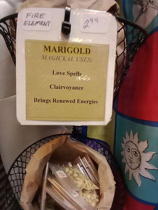 MARIGOLD FLOWERS dried herb in corked bottle