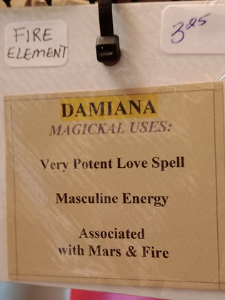 DAMIANA dried herb in corked bottle