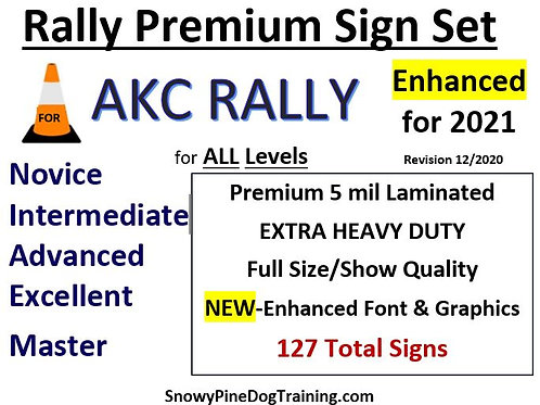 AKC RALLY COMPLETE SIGN SET-Extra Heavy/Laminated 127 Signs