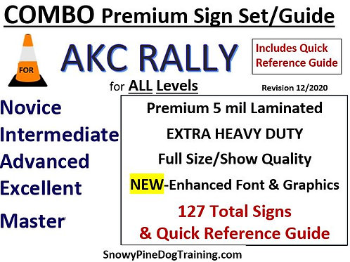 AKC COMBO SET - COMPLETE RALLY SIGN SET (127) & QUICK GUIDE