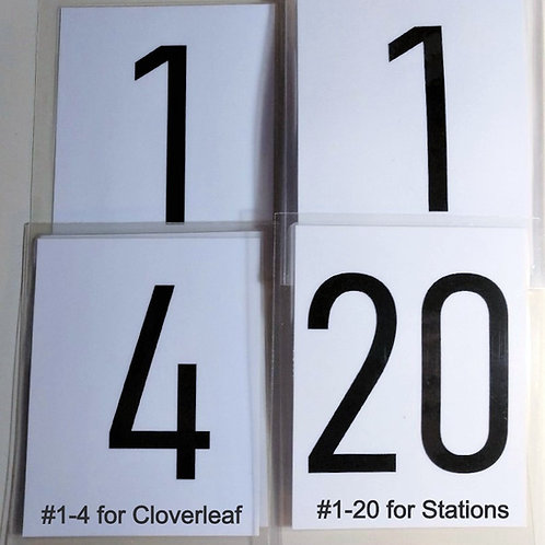 Laminated Station/Sign Numbers #1-20 & #1-4 for Cloverleaf