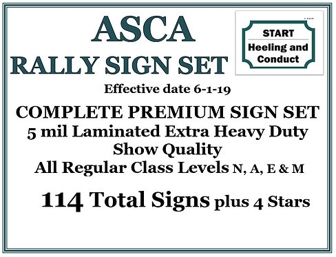 ASCA RALLY COMPLETE PREMIUM SIGN SET