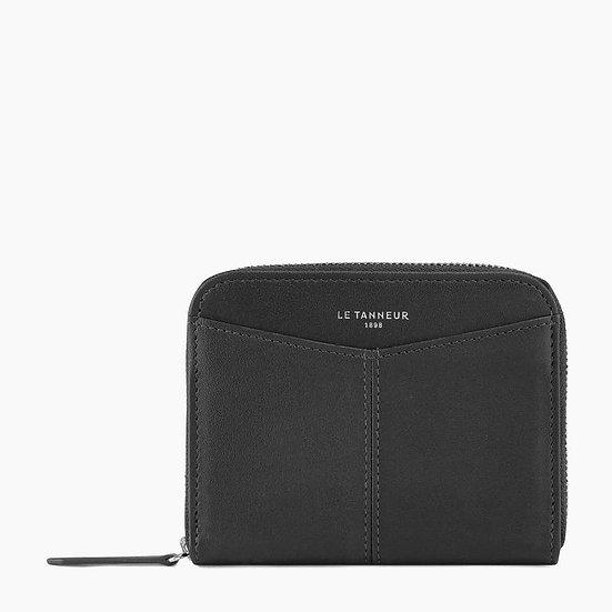 Porte monnaie zippé Le Tanneur avec porte cartes amovible en cuir lisse noir