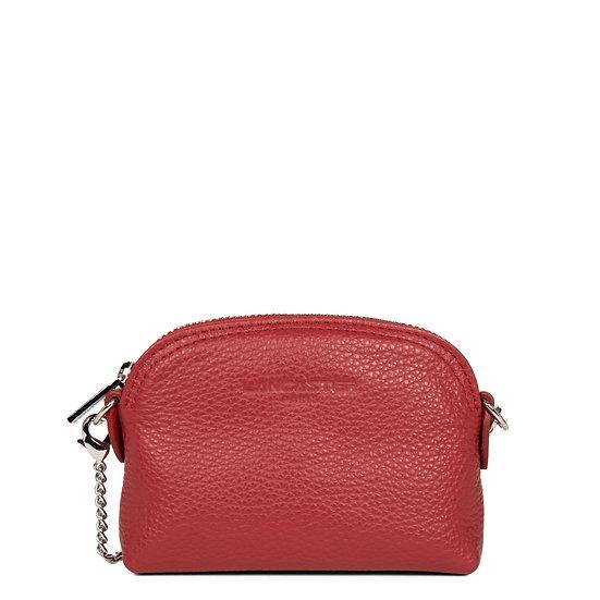 Porte monnaie Lancaster rouge cuir vachette pleine fleur