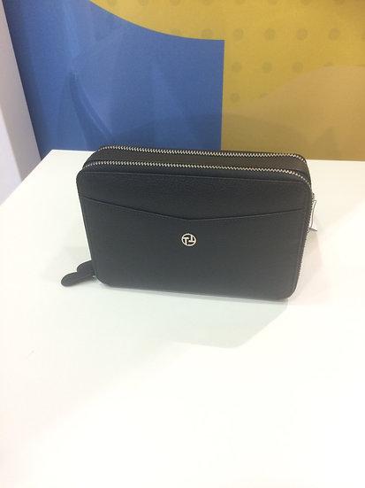 Mini sac porté travers Texier noir cuir vachette pleine fleur