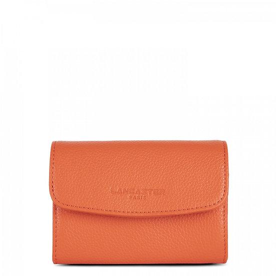 Porte monnaie Lancaster orange cuir vachette pleine fleur
