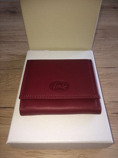 Porte monnaie avec fermoir Francinel rouge cuir vachette pleine fleur