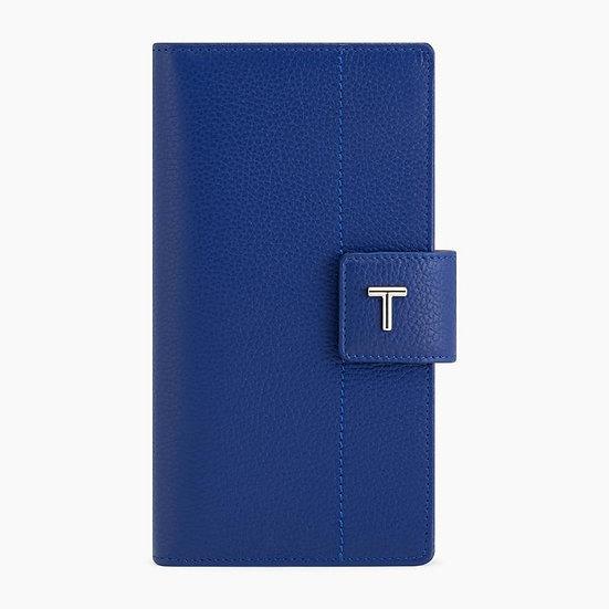 Porte chéquier Le Tanneur Zoé en cuir grainé bleu