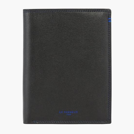 Grand portefeuille vertical 2 volets Le Tanneur Martin en cuir lisse noir