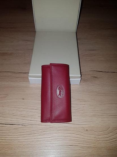 Porte clés Francinel rouge cuir vachette pleine fleur