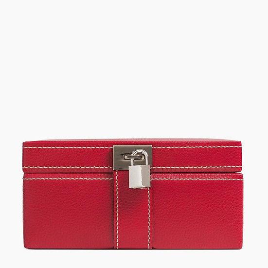Boîte à bijoux Le Tanneur en cuir rouge