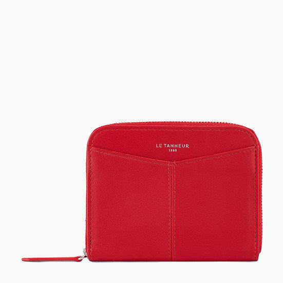 Porte monnaie zippé Le Tanneur avec porte cartes amovible en cuir lisse rouge