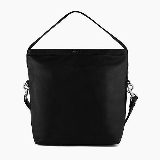 Grand sac Le Tanneur  hobo Pauline en cuir lisse noir