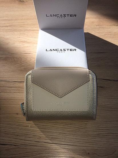 Portefeuille dos à dos Lancaster nacré / écru / rosé vinyle et cuir