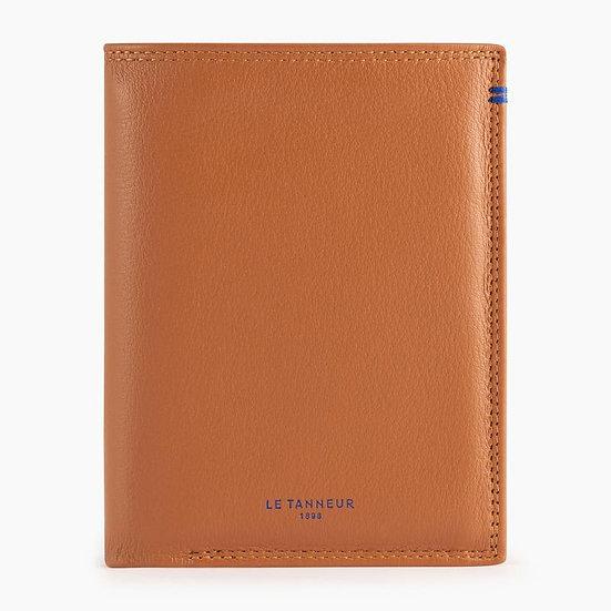 Portefeuille vertical 2 volets Le Tanneur Martin en cuir lisse marron
