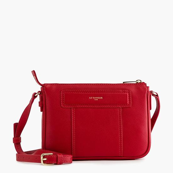 Petit sac bandoulière Le Tanneur Judith en cuir grainé rouge