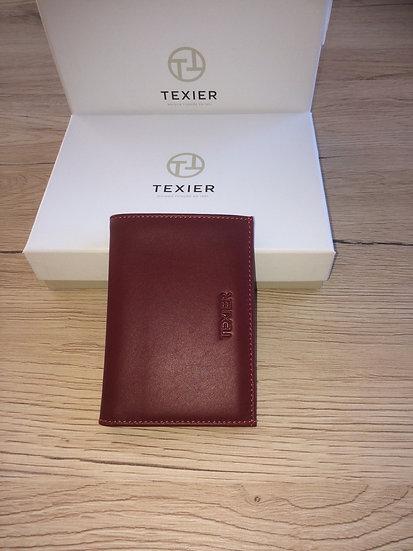 Porte cartes Texier rouge cuir vachette pleine fleur