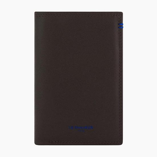 Porte cartes avec poche billets Le Tanneur Martin en cuir lisse marron