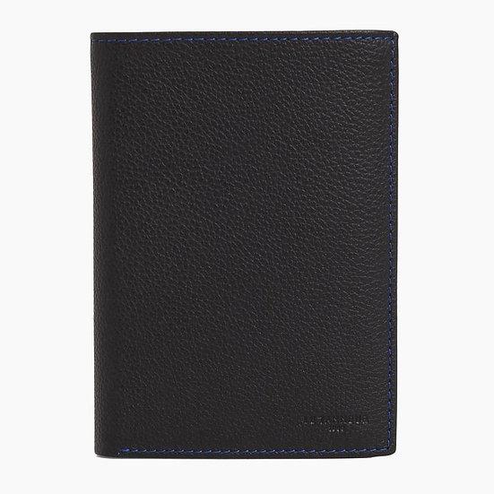 Portefeuille Le Tanneur vertical  zippé 2 volets en cuir grainé noir et bleu