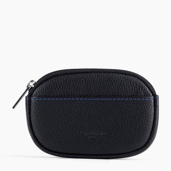 Porte monnaie zippé Le Tanneur Charles en cuir grainé noir et bleu