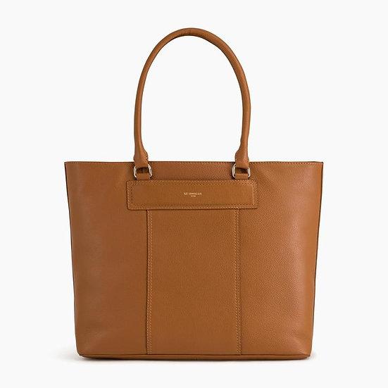 Grand sac cabas Le Tanneur Judith en cuir grainé marron