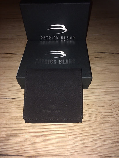 Porte monnaie crapaud Patrick Blanc noir cuir brut vachette pleine fleur