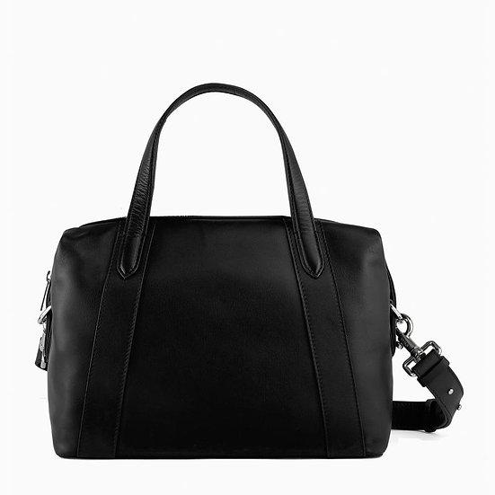 Grand sac bowling Le Tanneur en cuir lisse noir
