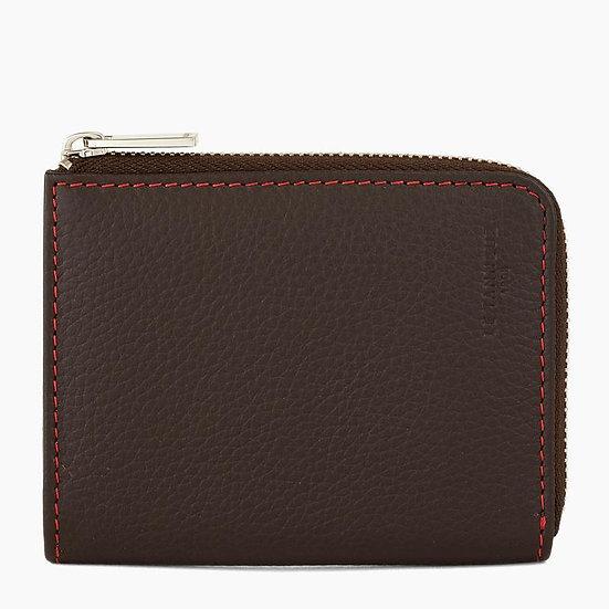 Porte monnaie zippé Le Tanneur Charles en L en cuir grainé marron et rouge