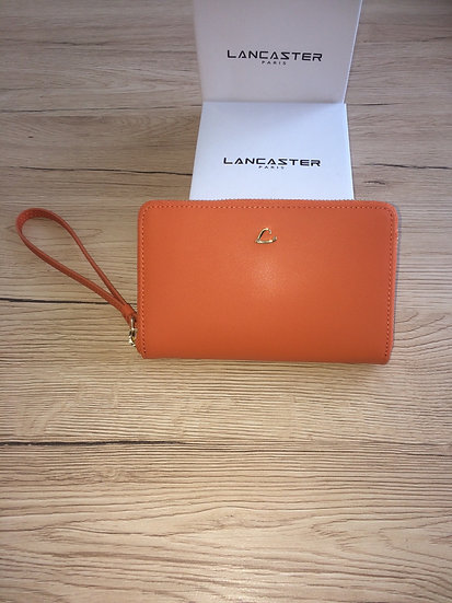 Portefeuille Lancaster orange cuir vachette