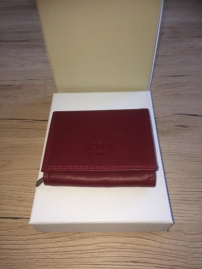 Porte monnaie Francinel rouge cuir vachette pleine fleur